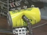 Bionic hand crushes CC Lemon can ---