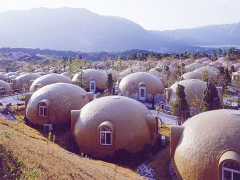 Styrofoam dome houses at Aso Farmland Village --