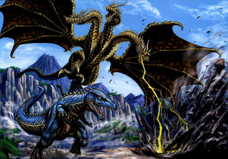 King Ghidrah vs Gorosaurus - Illustration by Yasushi Torisawa --