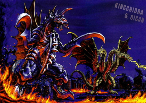 King Ghidrah & Gigan - Illustration by Yasushi Torisawa --