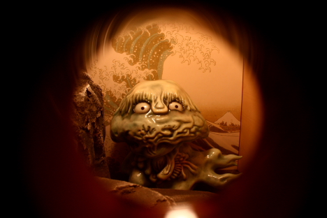 Monster in closet, upstairs at Kitaro Chaya teahouse --