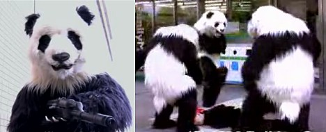 High-tech panda suit in action --