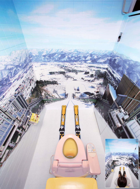 Ski jump toilet -- 