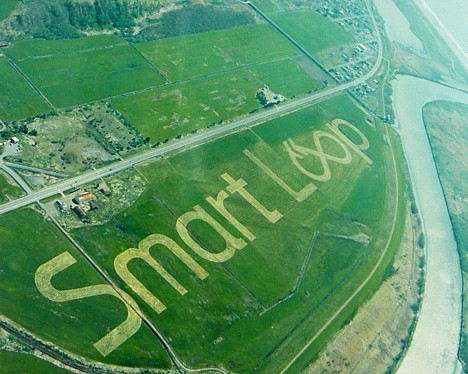 Smart Loop crop circle ad visible from space --