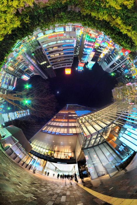 Ultra-wide fisheye image of Tokyo station --