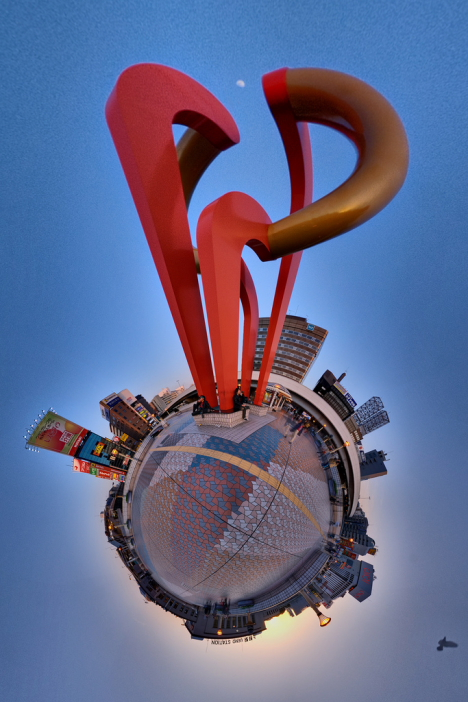 Wee planet stereographic projection of Tokyo --