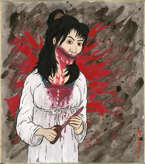 Kuchisakeonna, the severed-mouth woman --